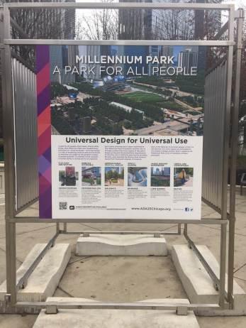 Millennium Park informational signage about Universal Design