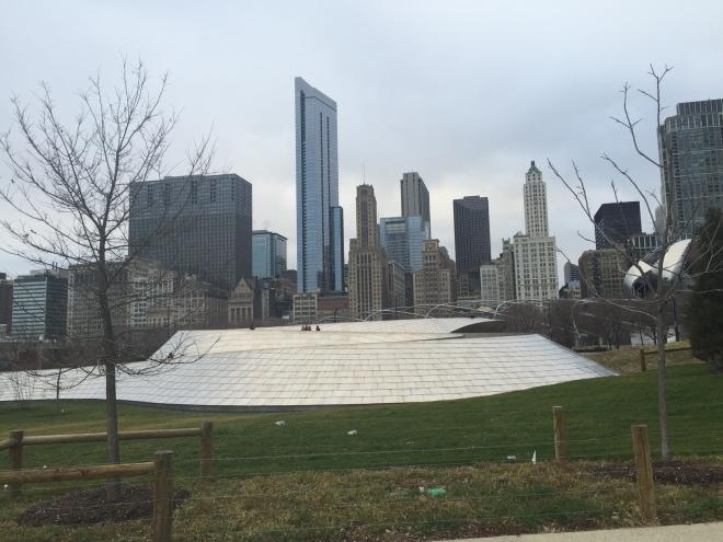 Bp Bridge is a giant pedestrian bridge snaking through Chicago