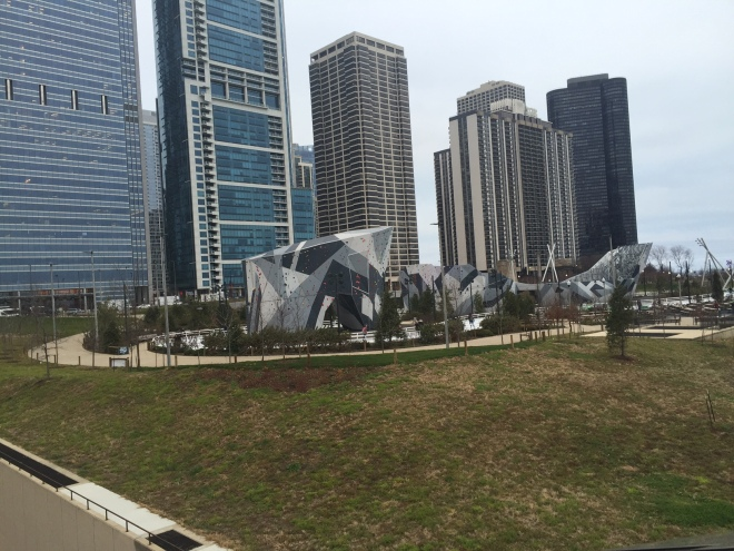 View of the Skating ribbon and Climbing wall in Millenium Park.